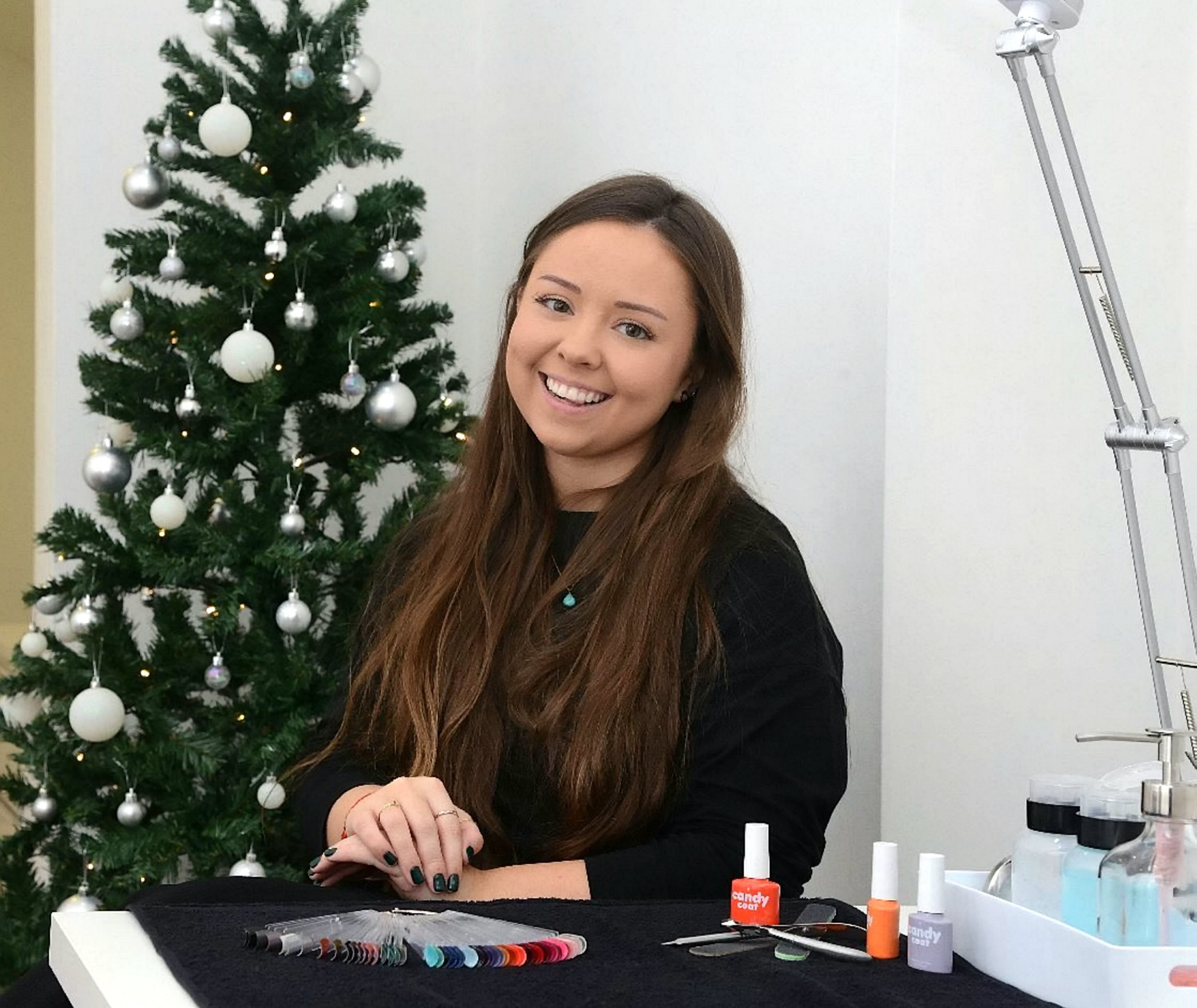 Beautician Jenna Pike, 22, who is offering free manicures to people who are facing a lonely Christmas in Edinburgh..See SWNS story SWSCsalon.A beautician is offering free manicures to people facing a lonely Christmas - on the condition they tell her a story.Jenna Pike, 22, is offering to file and shape the nails of those who are suffering from social isolation, during the festive period - because she ?loves a blether?.Chatterbox Jenna was inspired after having a conversation with an elderly customer, who?s arthritis meant she was unable to file her own nails.But the OAP revealed that she had no further plans for the week - which shocked the young salon worker.