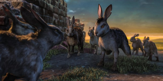 WARNING: Embargoed for publication until 22:00:01 on 01/11/2018 - Programme Name: Watership Down - TX: n/a - Episode: The Journey (No. 1) - Picture Shows: Bigwig and the Does??? escape is thwarted by Captain Campion. - (C) Watership Down - Photographer: screengrab