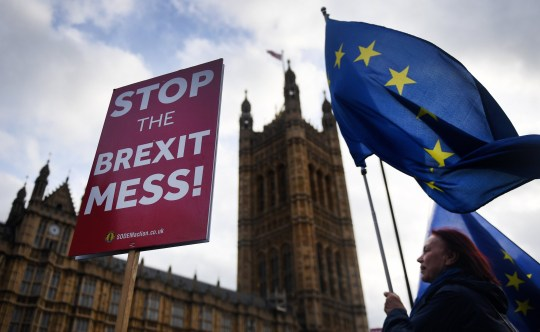 epa07209824 Anti-Brexit supporters demonstrate outside parliament in London, Britain, 05 December 2018. Prime Minister Theresa May is holding five days of debate over Brexit at parliament hoping to persuade MP's to vote for her deal. EPA/ANDY RAIN