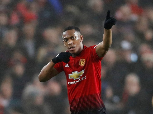 """Soccer Football - Premier League - Manchester United v Arsenal - Old Trafford, Manchester, Britain - December 5, 2018 Manchester United's Anthony Martial celebrates scoring their first goal REUTERS/Darren Staples EDITORIAL USE ONLY. No use with unauthorized audio, video, data, fixture lists, club/league logos or """"live"""" services. Online in-match use limited to 75 images, no video emulation. No use in betting, games or single club/league/player publications. Please contact your account representative for further details."""