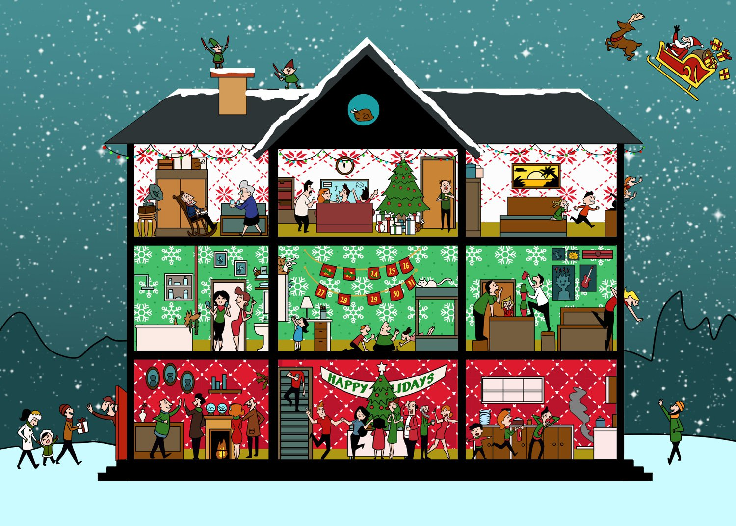 Picture: Christmas Brainteaser Can you find the 5 hidden turkeys in this festive party scene?
