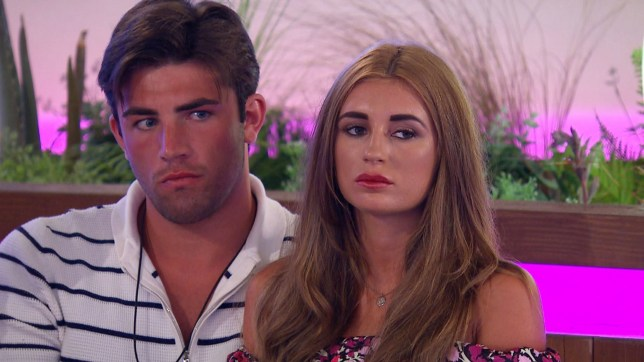 Editorial use only Mandatory Credit: Photo by ITV/REX/Shutterstock (9717329z) Jack Fincham and Dani Dyer as Caroline enters the villa to announce which couple will be dumped from the island tonight. 'Love Island' TV Show, Series 4, Episode 12, Majorca, Spain - 15 Jun 2018