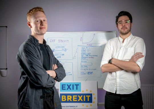 Undated handout photo issued by Paul Chappells of Product manager Richard Phillips-Kerr (left) and founder Grant MacLennan, from Glasgow-based digital product studio, Neu who have created a Exit Brexit tool. PRESS ASSOCIATION Photo. Issue date: Friday December 7, 2018. The Exit Brexit tool locates users' MPs from their address details and generates a letter of objection, which it then sends to parliamentarians at the click of a button. See PA story TECHNOLOGY Brexit. Photo credit should read: Paul Chappells/PA Wire NOTE TO EDITORS: This handout photo may only be used in for editorial reporting purposes for the contemporaneous illustration of events, things or the people in the image or facts mentioned in the caption. Reuse of the picture may require further permission from the copyright holder.