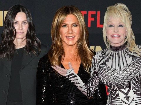 Courteney Cox supports BFF Jennifer Aniston as she joins Dolly Parton at Netflix's Dumplin' premiere