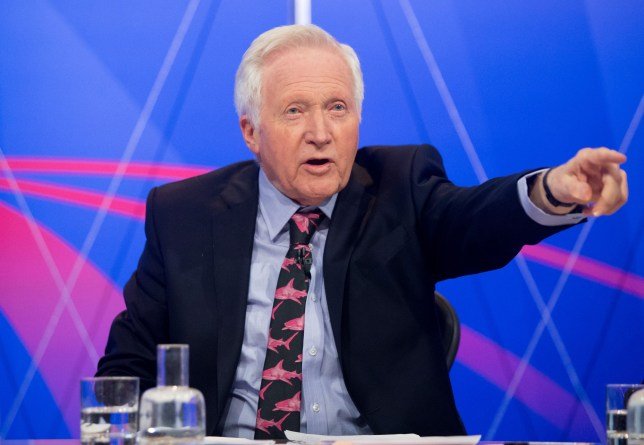 Embargoed to 2245 Thursday May 14 Chair David Dimbleby during filming of the BBC1 programme Question Time, in Uxbridge.