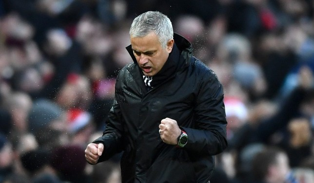 MANCHESTER, ENGLAND - DECEMBER 08: Jose Mourinho, Manager of Manchester United celebrates his sides second goal during the Premier League match between Manchester United and Fulham FC at Old Trafford on December 8, 2018 in Manchester, United Kingdom. (Photo by Gareth Copley/Getty Images)