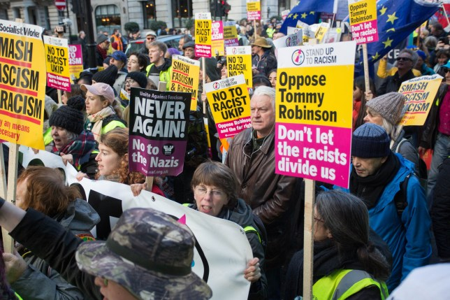 Anti racism groups hold counter protest & march against Stephen Yaxley-Lennon (Tommy Robinson) and UKIPs ???Brexit Betrayal??? march, London, UK. Featuring: Atmosphere, View Where: London, United Kingdom When: 09 Dec 2018 Credit: Wheatley/WENN