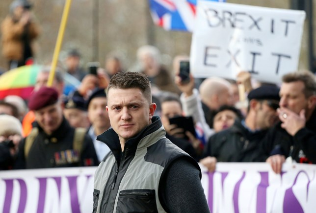 Tommy Robinson at the protest. Thousands of protesters descend on central London in a ?Brexit betrayal? march led by Tommy Robinson and Ukip. December 9, 2018. They will be met by counter-demonstrators and anti-fascists, and police have mounted a major operation to keep opposing groups apart. The Metropolitan Police has appealed for both sides to protest peacefully, after some Robinson supporters praised rioting by the ?gilets jaunes? in France.