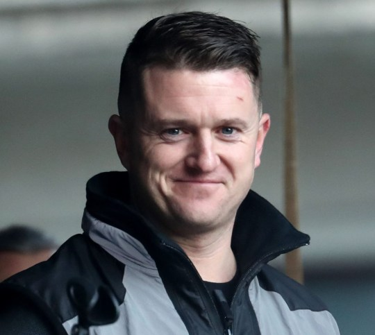 """Tommy Robinson addresses the rally after taking part in a """"Brexit Betrayal"""" march organised by Ukip in central London. PRESS ASSOCIATION Photo. Picture date: Sunday December 9, 2018. See PA story POLITICS Brexit March. Photo credit should read: Gareth Fuller/PA Wire"""