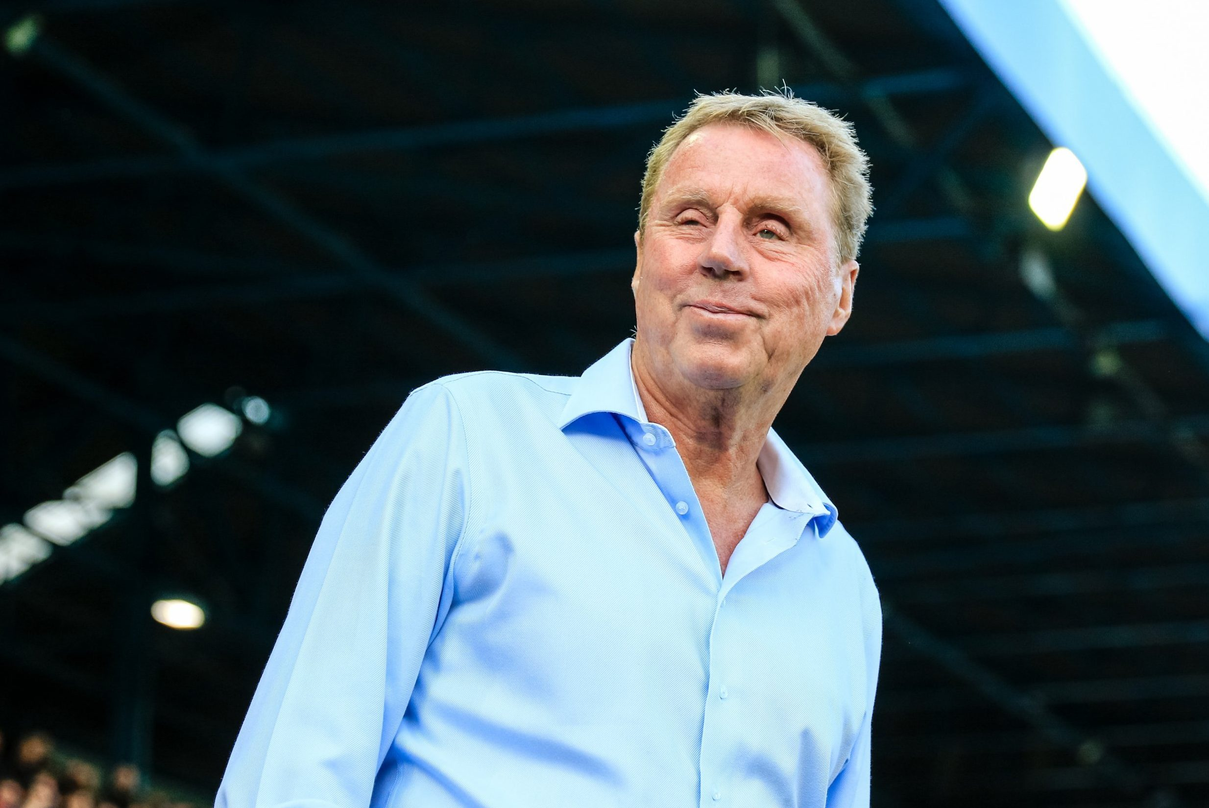 FILE - English Former Football Manager Harry Redknapp Is Crowned King of I'm A Celebrity...Get Me Out of Here! 2018 August 15th 2017, St. Andrews, Birmingham, England; EFL Championship Football, Birmingham versus Bolton; Harry Redknapp Manager of Birmingham City FC smiles to the fans before the game (Photo by Steve Feeney/Action Plus via Getty Images)