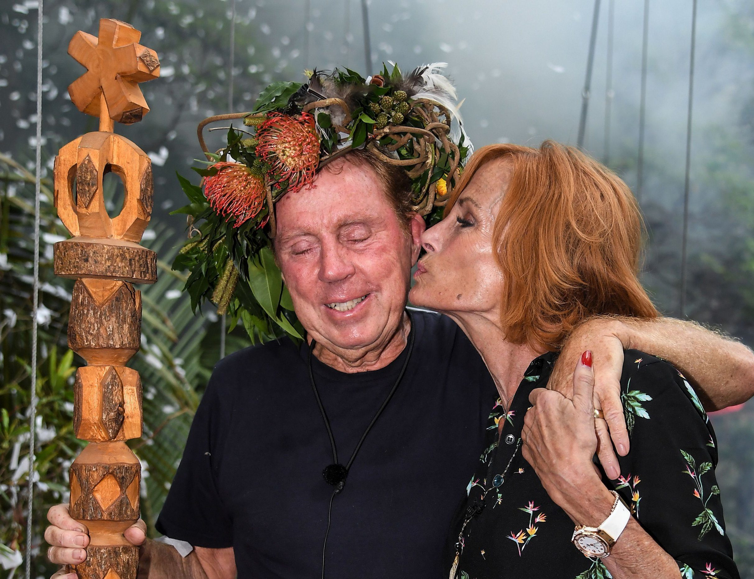 Editorial use only Mandatory Credit: Photo by James Gourley/ITV/REX (10019593r) Harry Redknapp is crowned King of the Jungle and is joined by wife Sandra Redknapp 'I'm a Celebrity... Get Me Out of Here!' TV Show, Series 18, Australia - 09 Dec 2018