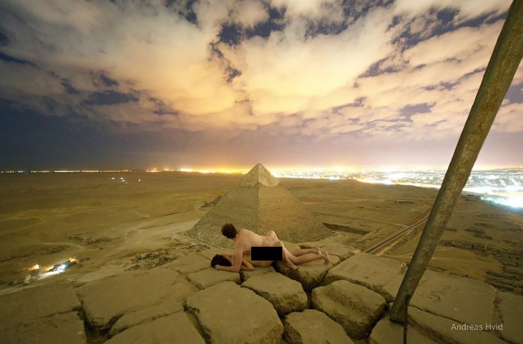 METRO GRAB VIA ANDREASHVID.COM Outrage in Egypt after Danish photographer posts a picture of himself 'having sex' with a naked woman on top of the Great Pyramid Andreas Hvid posted the explicit snap on his website and in a YouTube video https://www.andreashvid.com/fullscreen-page/comp-jmteddho/30dc45b2-1fec-4360-80f1-1c5ed76dd47b/0/%3Fi%3D0%26p%3Dcm8ci%26s%3Dstyle-jmteddhq https://www.youtube.com/watch?v=T4oeY8YNIuQ