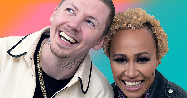 LONDON, ENGLAND - NOVEMBER 20: Professor Green (L) and Emeli Sande backstage at Electric Brixton on November 20, 2018 in London, England. (Photo by Dave J Hogan/Dave J Hogan/Getty Images)