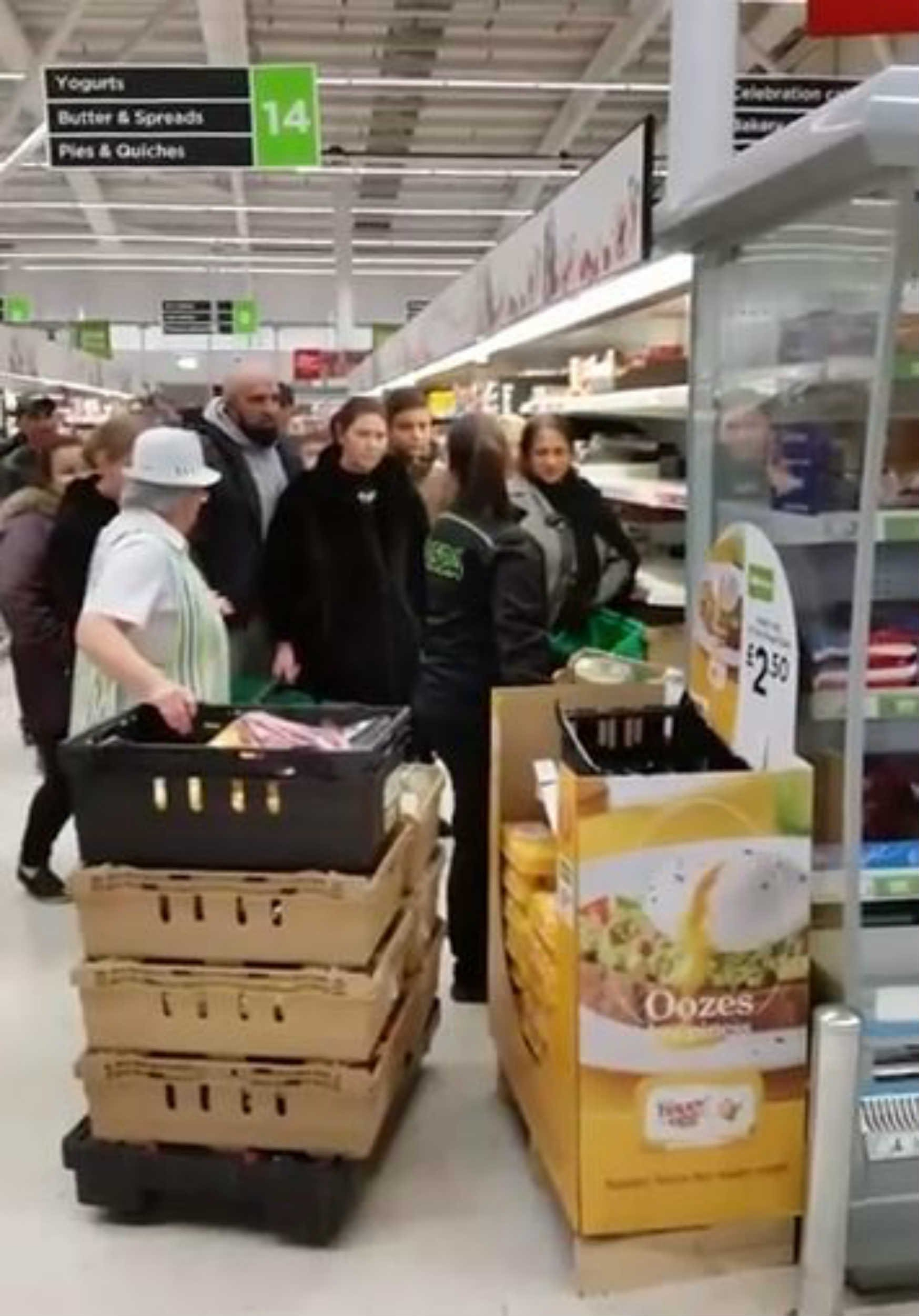 HILARIOUS footage shows manic shoppers battling to get at goods in the reduced aisle after it is filled up with multiple cretes. The video, which was taken by Marcus Steel, shows Asda shoppers in Toryglen, Glasgow, scrabbling for the items seconds after they are placed on the shelves. The clip, which was uploaded last Wednesday, has been viewed more than a million times with Facebook users loving the shoppers enthusiasm for a bargain. Asda workers are initially seen filling up the shelves with eight crates of reduced goodies. One of the workers can be seen speaking to people, who are swarmed around her, possibly asking them for patientice as she fills up the shelves. Once she finishes, the stampede of shoppers can be seen gathering round the shelf, with everyone trying to grab a bargain.