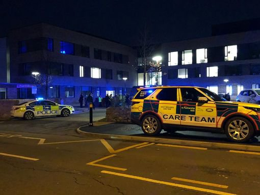 Ambulance care team at scene of the University of Birmingham School on Weoley Park Road and Bristol Road