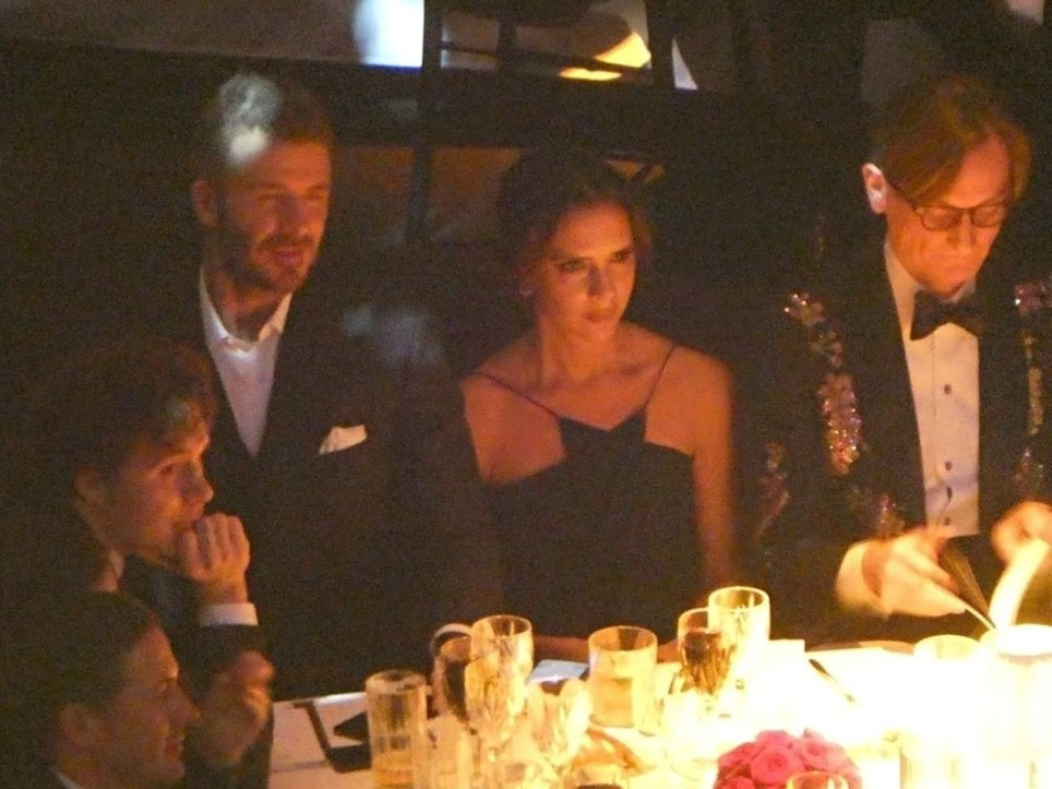BGUK_1431092 - ** RIGHTS: NO PRINT, NO TV ** London, UNITED KINGDOM - David and Victoria Beckham and other people dine at Fashion Awards, London. Pictured: David Beckham, Victoria Beckham BACKGRID UK 10 DECEMBER 2018 BYLINE MUST READ: MARCO GAFARELLI / BACKGRID UK: +44 208 344 2007 / uksales@backgrid.com USA: +1 310 798 9111 / usasales@backgrid.com *UK Clients - Pictures Containing Children Please Pixelate Face Prior To Publication*