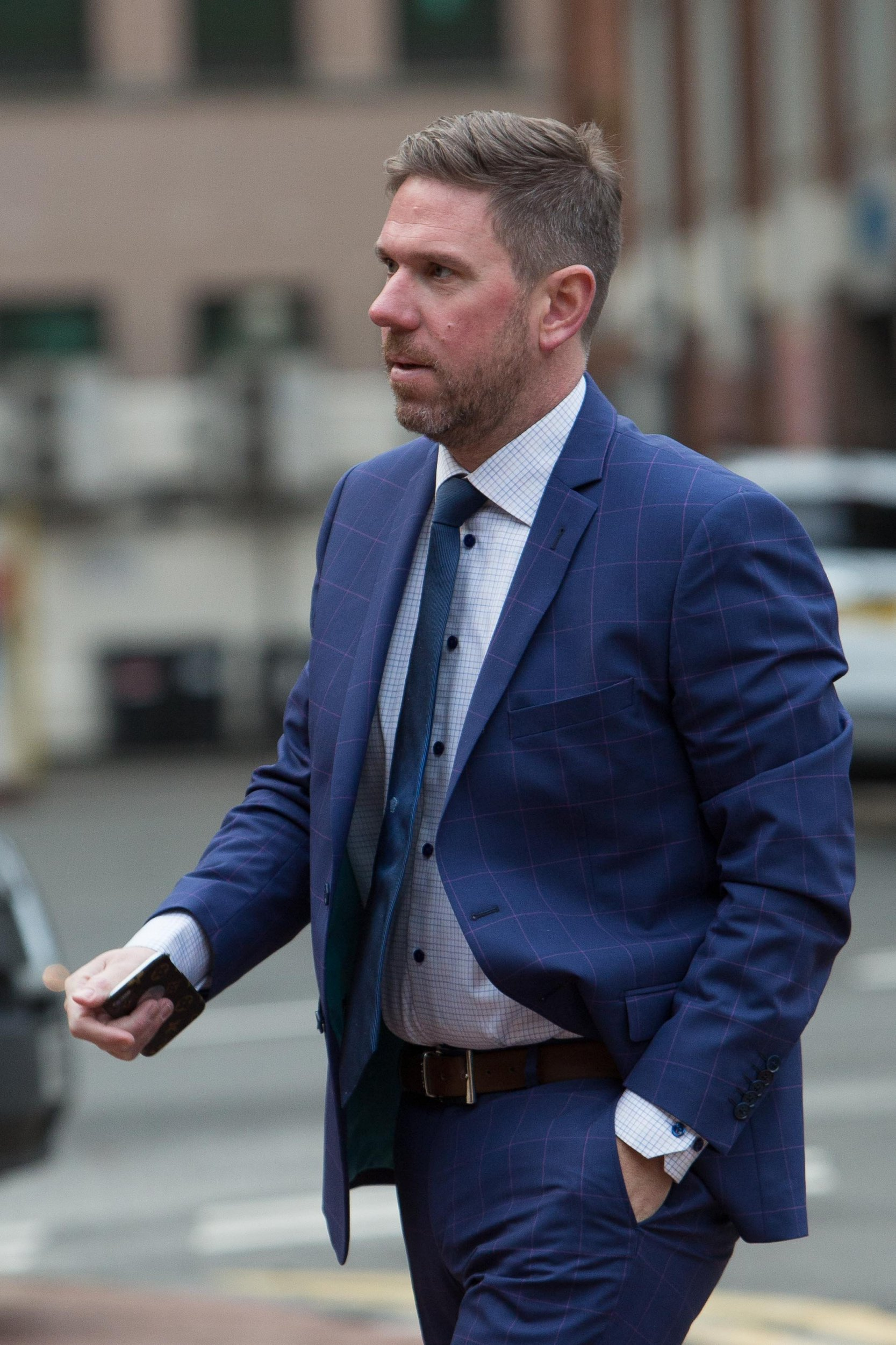 """John Broadhurst arriving at Birmingham Crown Court. December 11, 2018. See SWNS story SWMDkilling. A businessman accused of murdering his lover in a drink and drug-fuelled sex session """"wanted to teach her a lesson,"""" a court has heard. John Broadhurst is accused of 26-year-old Natalie Connolly's murder at their home in Kinver, near Stourbridge, in December 2016. Ms Connolly was found naked in a pool of blood at the foot of the stairs, the court heard. Mr Broadhurst, 40, from Wolverley, near Kidderminster, denies murder but is expected to change his plea today."""
