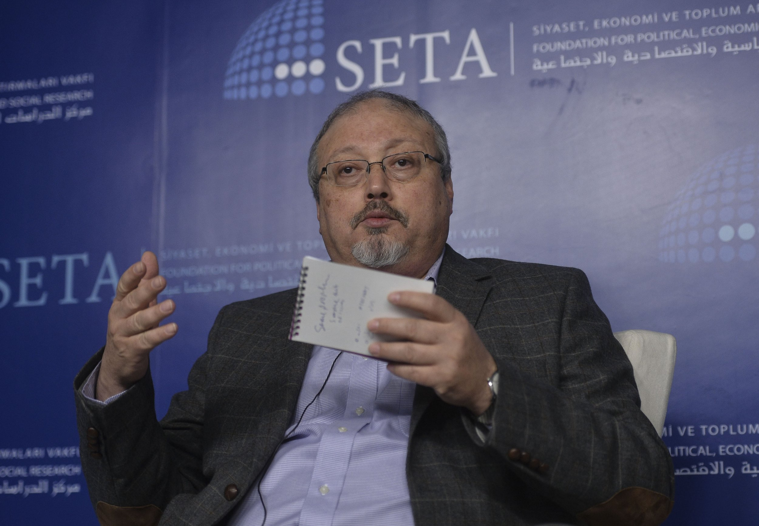 ANKARA, TURKEY - (ARCHIVE) : A file photo dated March 26, 2015 shows Prominent Saudi journalist Jamal Khashoggi speaking during a panel titled 'Crisis in Syria: An Endless War?' organised by Foundation for Political, Economic and Social Research (SETA) Foundation in Ankara, Turkey. Saudi journalist Jamal Khashoggi died after a brawl inside the Saudi consulate in Istanbul, Saudi Arabia announced Saturday. (Photo by Gokhan Balci/Anadolu Agency/Getty Images)