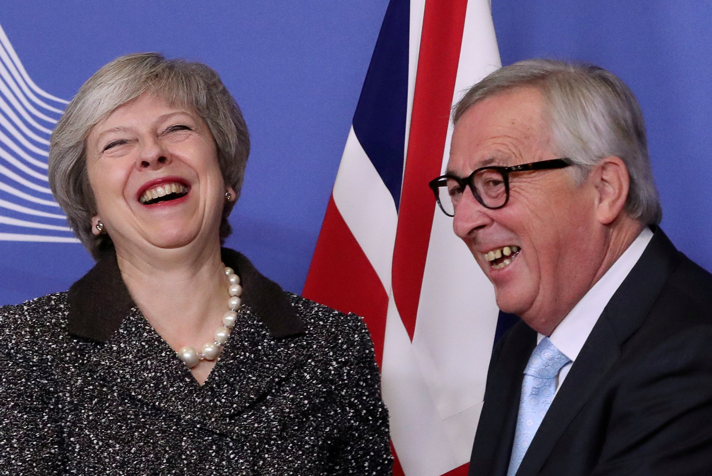 British Prime Minister Theresa May meets with European Commission President Jean-Claude Juncker to discuss Brexit, at the European Commission headquarters in Brussels, Belgium December 11, 2018. REUTERS/Yves Herman TPX IMAGES OF THE DAY