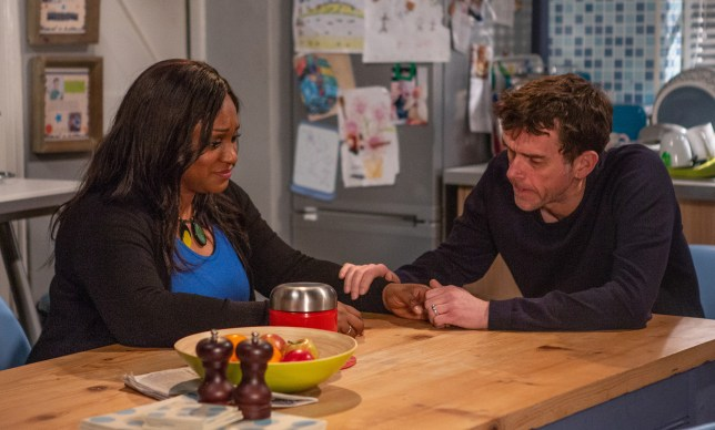 Sandra Marvin as Jessie Dingle and Mark Charnock as Marlon Dingle in Emmerdale