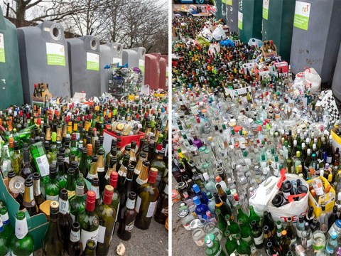 Someone had one hell of a New Year's party by the look of these bottle bins