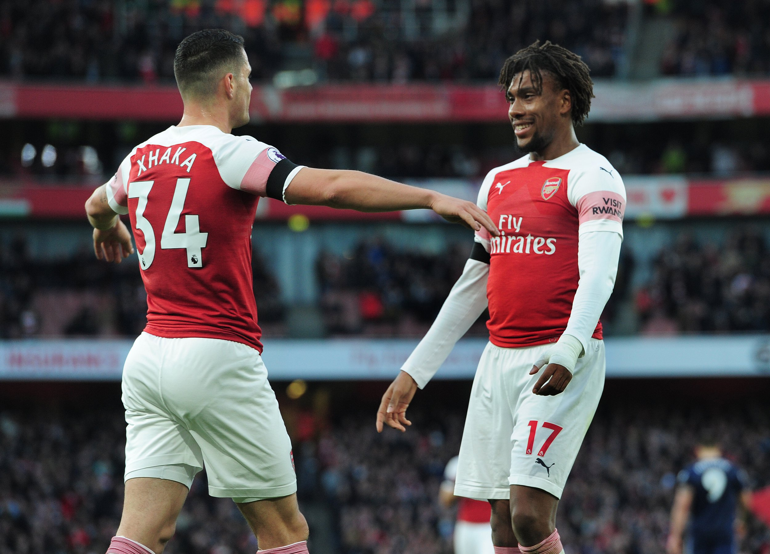 Football - 2018 /2019 Premier League - Arsenal vs Fulham ??? at the Emirates. Granit Xhaka of Arsenal celebrates scoring his first half goal with Alex Iwobi of Fulham Credit: COLORSPORT/ANDREW COWIE