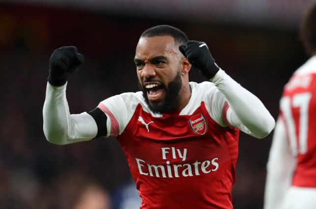 LONDON, ENGLAND - JANUARY 01: Alexandre Lacazette of Arsenal celebrates after scoring his team's second goal during the Premier League match between Arsenal FC and Fulham FC at Emirates Stadium on January 1, 2019 in London, United Kingdom. (Photo by Catherine Ivill/Getty Images)
