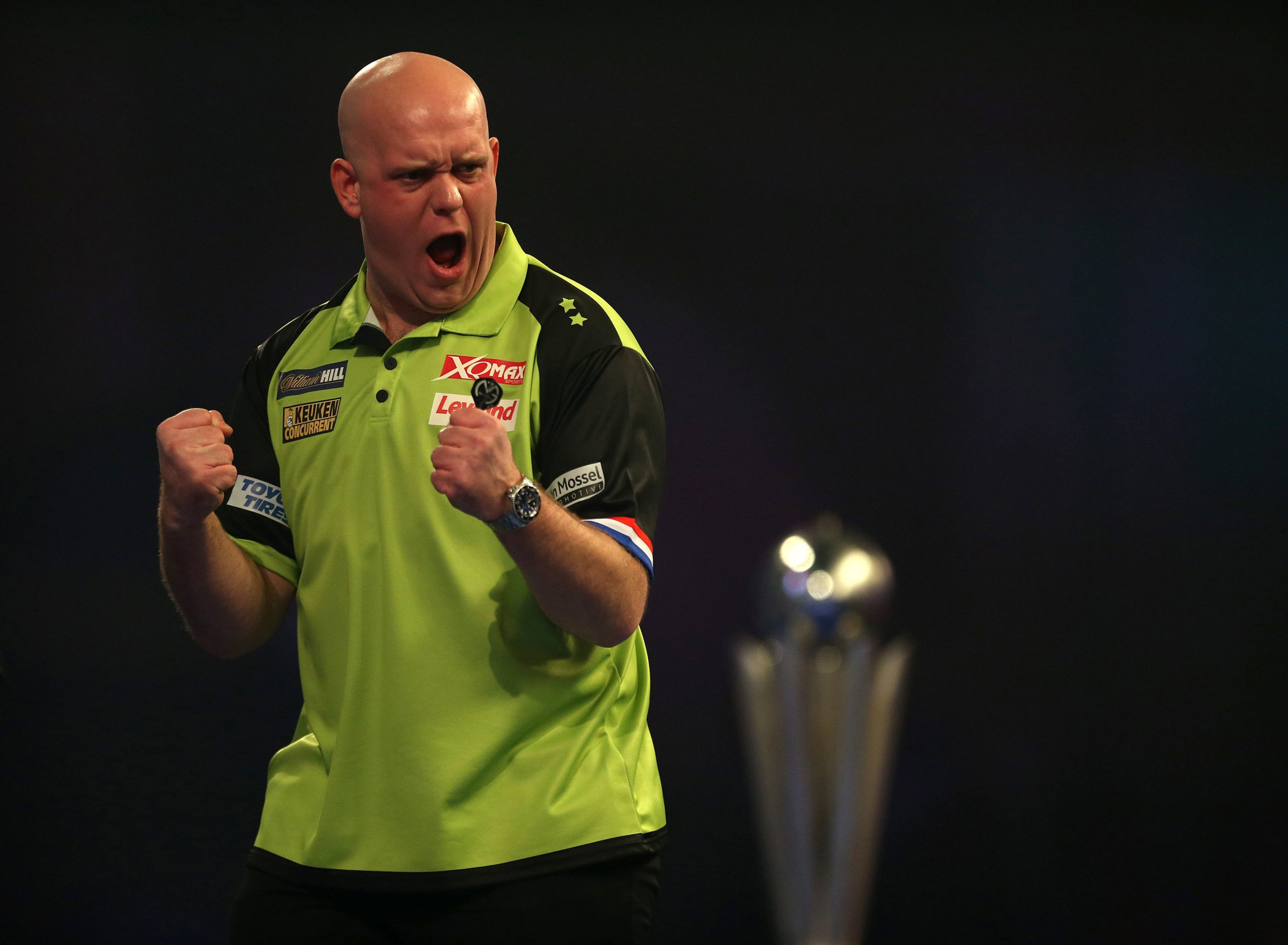 Michael Van Gerwen reacting during day sixteen of the William Hill World Darts Championships at Alexandra Palace, London. PRESS ASSOCIATION Photo. Picture date: Tuesday January 1, 2019. Photo credit should read: Steven Paston/PA Wire