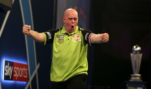 Michael Van Gerwen celebrates winning the 6th set to move 6-2 up during day sixteen of the William Hill World Darts Championships at Alexandra Palace, London. PRESS ASSOCIATION Photo. Picture date: Tuesday January 1, 2019. Photo credit should read: Steven Paston/PA Wire