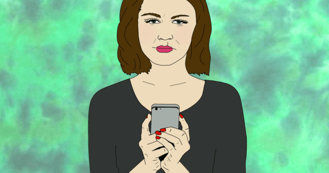 Animation of woman holding phone with a sad expression