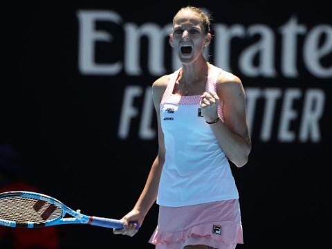 Karolina Pliskova reacts to saving four match points in shock Serena Williams victory
