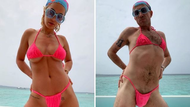 Who wore it better? Rita Ora lends Nick Grimshaw her hot pink bikini and they're both working it