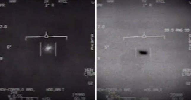A view of the oval-shaped UFO encountered by US Airforce pilots