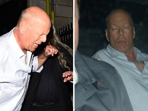 Bruce Willis gets a helping hand leaving Annabel's after heavy night out in London