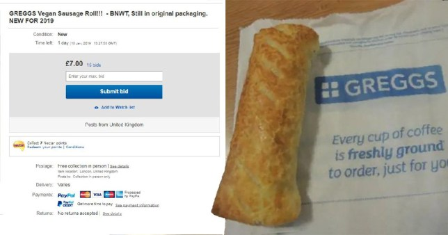 Greggs vegan sausage rolls are selling on Ebay for nine