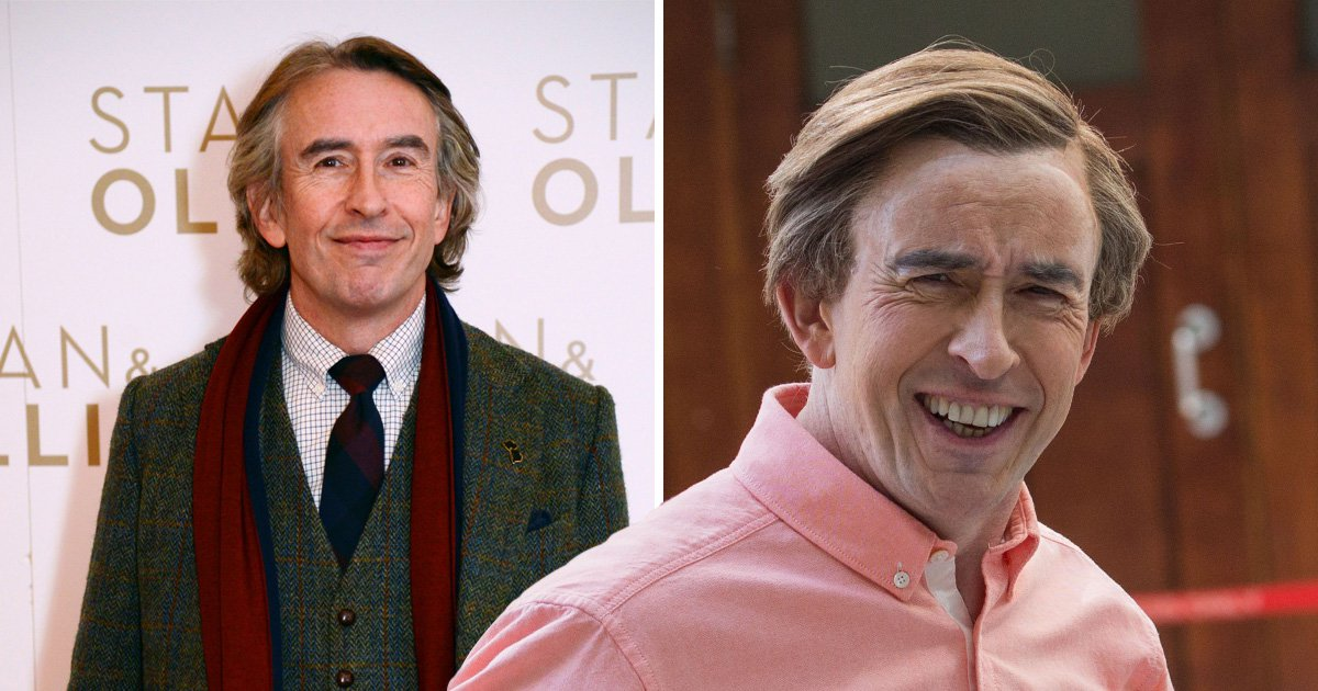 Steve Coogan posing at the Stan and Ollie movie premiere and as Alan Partridge