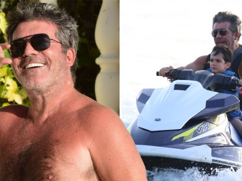 Simon Cowell cares not for sunburn as he jet skis with Eric, 4, after Susan Boyle reunion