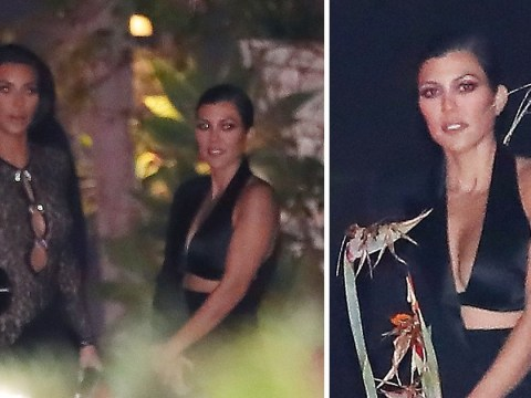 Kourtney Kardashian is our queen in sleek cut-out tuxedo as she hangs with Kim at John Legend's 40th