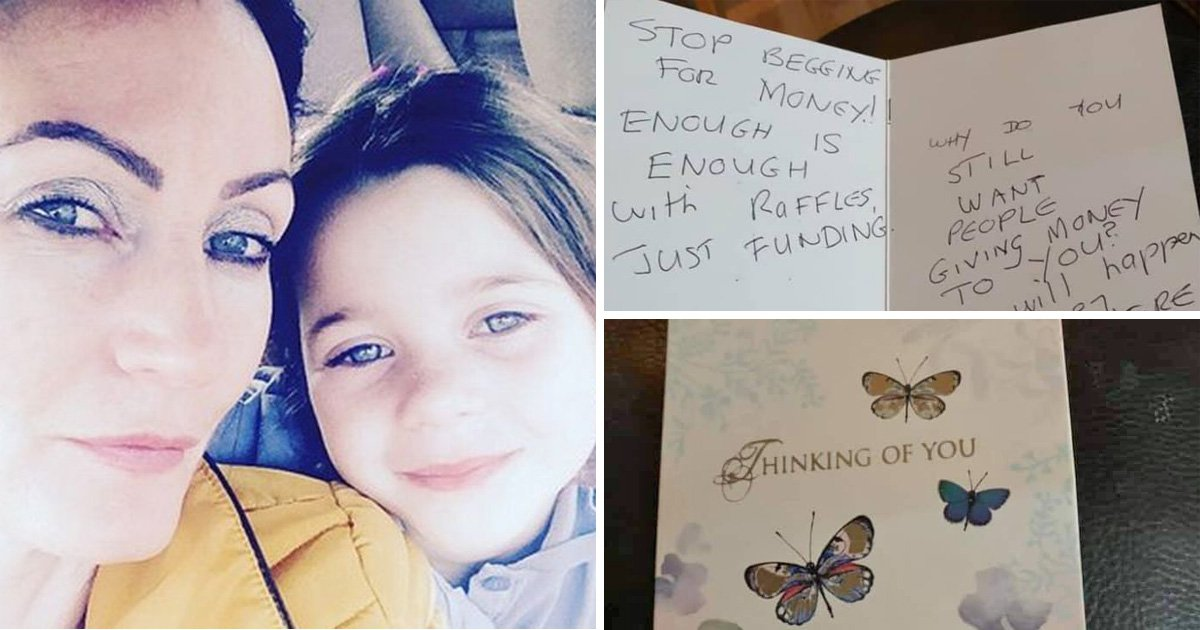Mum with terminal cancer told to 'stop begging for money' in heartless card