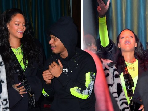 Rihanna lets off steam at gig as she twins with 718 Spank in neon