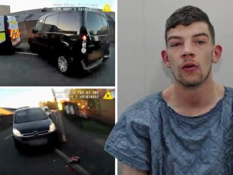 Moment 'lunatic' drunk driver in stolen van crushes PC against parked car