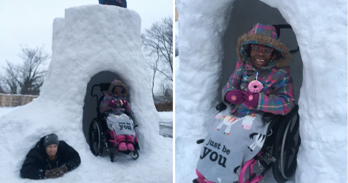 Dad who adopted two disabled kids creates accessible igloos so they can enjoy snow