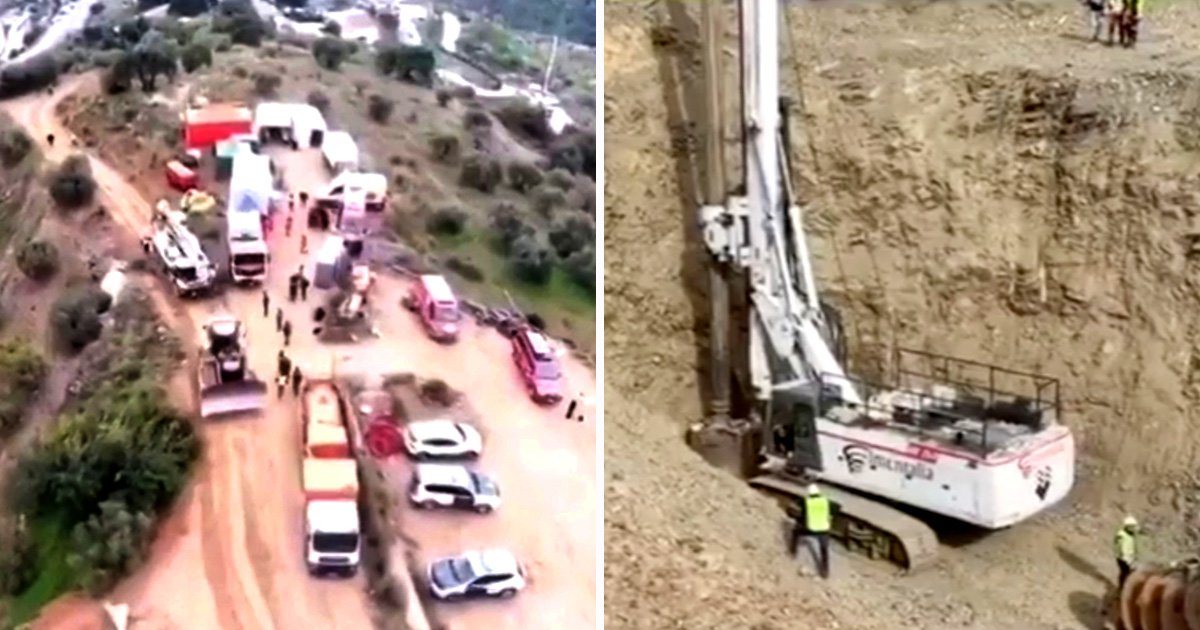 Drone pictures show enormous task facing teams battling to get trapped boy, 2, out of well