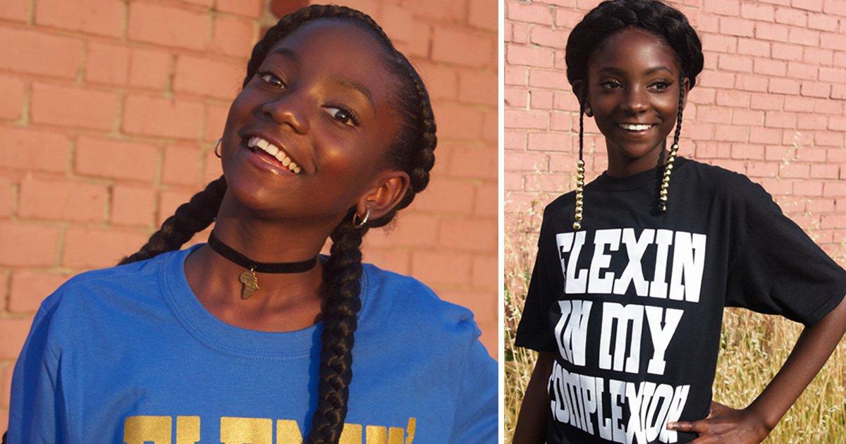Girl, 12, bullied for dark skin creates 'flexin' in my complexion' shirt worn by Lupita Nyong'o