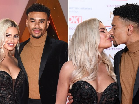 Megan Barton-Hanson and Wes Nelson pucker up after Dancing On Ice drama at the National Television Awards