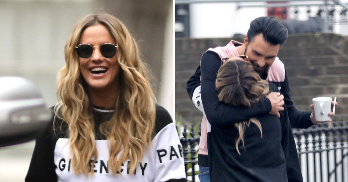 Caroline Flack full of smiles the morning after she was seen 'kissing' AJ Pritchard at the National Television Awards