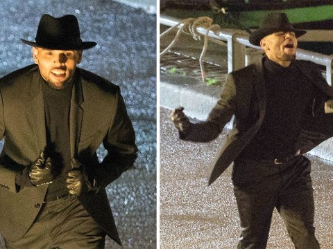 Chris Brown dances on Paris street while filming music video after arrest on suspicion of rape