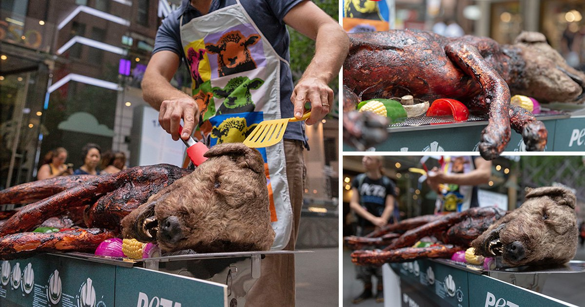 Vegans 'barbecue dog' in the street to shock people into ditching meat