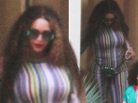 Only Beyonce can own a multi-coloured, stripy jumpsuit as she heads out with Blue Ivy