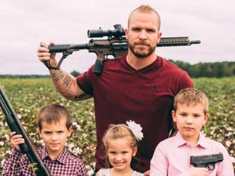 Dad and his three kids pose with guns in response to Gillette's #MeToo-inspired advert
